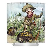 T. Roosevelt Cartoon, 1909 Shower Curtain