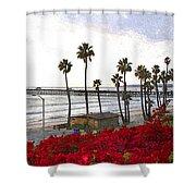 T-street View Of San Clemente Pier Shower Curtain