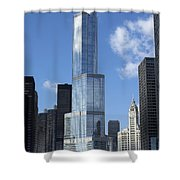 T Tower Chicago River Shower Curtain