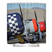 T6 Flight Line At Reno Air Races Shower Curtain