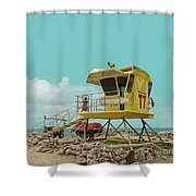 T7 Lifeguard Station Kapukaulua Beach Paia Maui Hawaii Shower Curtain