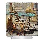 Table Bleue Au Soleil Shower Curtain