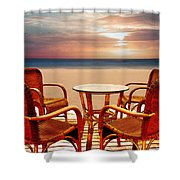 Table For Four At The Beach At Sunset Shower Curtain