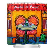 Table For Two In Paris Shower Curtain by Lisa  Lorenz