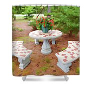 Table In The Garden Shower Curtain