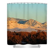 Table Mesa Winter Morning Shower Curtain
