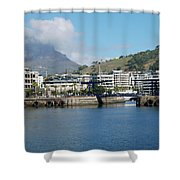 Table Mountain From The V And A Waterfront Quays Shower Curtain