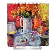 Table Reflections Shower Curtain