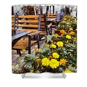 Tables And Chairs With Flowers Shower Curtain
