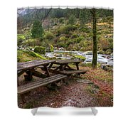 Tables By The River Shower Curtain by Carlos Caetano