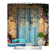 Tables In A Traditional Italian Restaurant In Sicily, Italy Shower Curtain