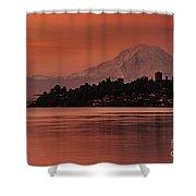 Tacoma Bay Mount Rainier Sunrise Shower Curtain