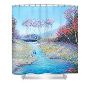 Tadpoling By The River Shower Curtain
