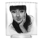 Ariana Grande Drawing By Sofia Furniel Shower Curtain