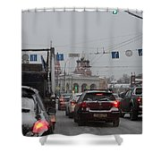 Taganskaya Square In Snow Shower Curtain