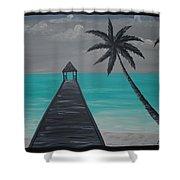 Tahitian Blue Shower Curtain