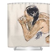 Tahitian Woman With Pig  Shower Curtain