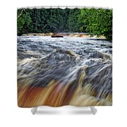 Tahquamenon Lower Falls Upper Peninsula Michigan Vertical 01 Shower Curtain