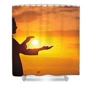 Tai Chi At Sunset Shower Curtain by Joe Carini - Printscapes