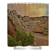 Tail End Of Storm At Sunset Over Bentonite Site Shower Curtain