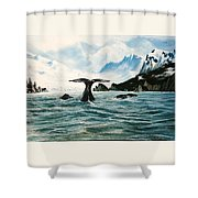 Tailing Whales Prince William Sound Shower Curtain