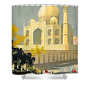 Taj Mahal Visit India Vintage Travel Poster Restored Shower Curtain