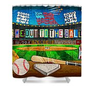 Take Me Out To The Ballgame Recycled Vintage License Plate Art Collage Shower Curtain