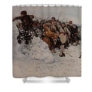 Taking A Snow Town Shower Curtain