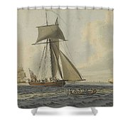 Taking Crew To An English Frigate Near The Needles Isle Of Wight By Robert Cleveley Shower Curtain