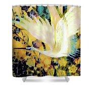 Taking Wing Above The Garden - Kimono Series Shower Curtain