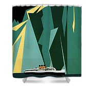 Taku Glacier - Alaska - Canadian Pacific Steamship - Retro Travel Poster - Vintage Poster Shower Curtain