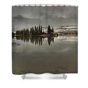 Talbot Lake Stormy Panorama Shower Curtain