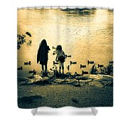 Talking To Ducks Shower Curtain