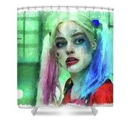 Talking To Harley Quinn - Aquarell Style Shower Curtain