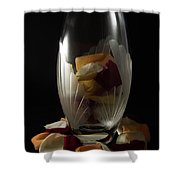 Tall Crystal Vase With Rose Petals Shower Curtain