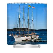 Tall Sailboat In Acadia Shower Curtain