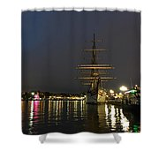 Tall Ship Docked At The Baltimore Inner Harbor Shower Curtain