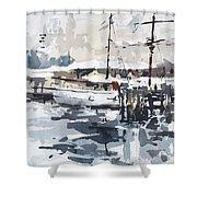 Tall Ship In Sydney Harbour Shower Curtain