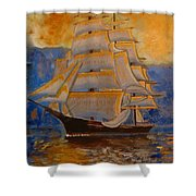 Tall Ship In The Sunset Shower Curtain
