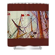 Tall Ship Lines Shower Curtain