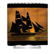 Tall Ship With A Harvest Moon Shower Curtain