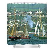 Tall Ships And Steam Trains Shower Curtain