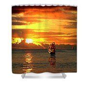 Tall Ships And The Trade Route Shower Curtain