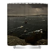 Tall Ships Heavy Rain And Wind In Sydney Harbour Shower Curtain