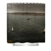 Tall Ships In The Entrance Of Sydney Harbour Shower Curtain