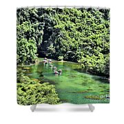 Tam Coc Boats On Ngo Dong River  Shower Curtain