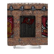Tampa Bay Buccaneers Brick Wall Shower Curtain