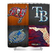 Tampa Bay Sports Fan Recycled Vintage Florida License Plate Art Bucs Rays Lightning Plus State Map Shower Curtain