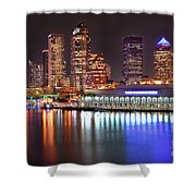 Tampa Skyline At Night Early Evening Shower Curtain