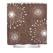 Tan Floral Shower Curtain